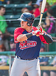8 July 2014: Lowell Spinners first baseman Cisco Tellez on deck against the Vermont Lake Monsters at Centennial Field in Burlington, Vermont. The Lake Monsters rallied in the 9th inning to defeat the Spinners 5-4 in NY Penn League action. Mandatory Credit: Ed Wolfstein Photo *** RAW Image File Available ****