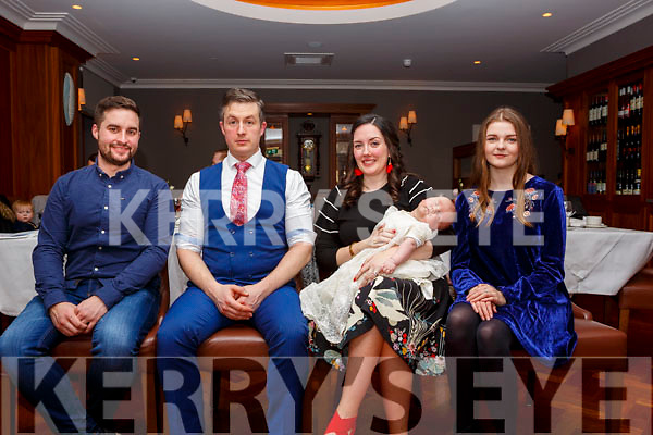 The christening of baby Dominic Ward in the Ballygarry House Hotel on Sunday last. L-r Gofather, Michael Ward, parents Joesph Ward and Grace Daniels with godmother Shauna Moore.
