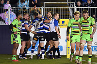Matt Banahan of Bath Rugby celebrates his first half try. Aviva Premiership match, between Bath Rugby and Northampton Saints on February 9, 2018 at the Recreation Ground in Bath, England. Photo by: Patrick Khachfe / Onside Images
