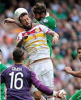 13th June 2013; Euro 2016 Qualifier, Republic of Ireland vs Scotland, Aviva Stadium, Dublin. <br /> Scotland&rsquo;s Steven Fletcher with Daryl Murphy of Ireland.<br /> Picture credit: Tommy Grealy/actionshots.ie.
