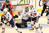 January 9th, 2009:  Mike Brodeur (29) of the Rochester Amerks looks for a rebound in traffic during the third period vs. the Syracuse Crunch at Blue Cross Arena in Rochester, NY.  Rochester defeated Syracuse 3-1 for their third straight win.  Photo Copyright Mike Janes Photography 2009