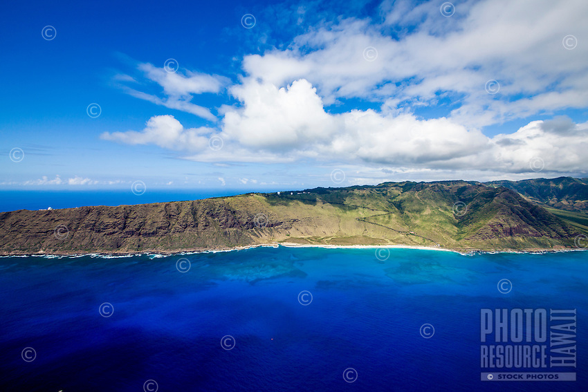 An aerial view of most of Ka'ena Point, West O'ahu.
