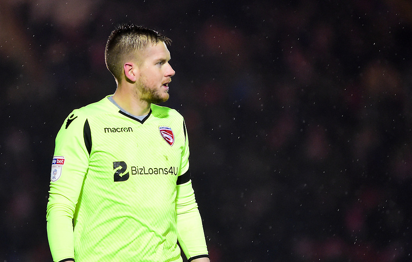 Morecambe's Mark Halstead<br /> <br /> Photographer Andrew Vaughan/CameraSport<br /> <br /> The EFL Sky Bet League Two - Saturday 15th December 2018 - Lincoln City v Morecambe - Sincil Bank - Lincoln<br /> <br /> World Copyright © 2018 CameraSport. All rights reserved. 43 Linden Ave. Countesthorpe. Leicester. England. LE8 5PG - Tel: +44 (0) 116 277 4147 - admin@camerasport.com - www.camerasport.com