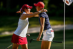 STILLWATER, OK - MAY 23: Kristen Gillman of Alabama and Gigi Stoll of Arizona hug after the completion of their match during the Division I Women's Golf Team Match Play Championship held at the Karsten Creek Golf Club on May 23, 2018 in Stillwater, Oklahoma. (Photo by Shane Bevel/NCAA Photos via Getty Images)