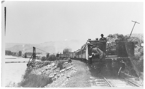 Open observation car in passenger train.<br /> D&amp;RGW