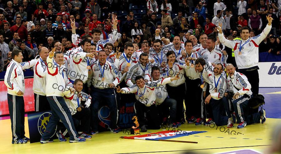 Third  placed Croatian national handball team players celebrate after men`s EHF EURO 2012 handball championship  in Belgrade, Serbia, Sunday, January 29, 2011.  (photo: Pedja Milosavljevic / thepedja@gmail.com / +381641260959)