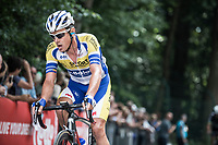 Preben Van Hecke (BEL/Sport Vlaanderen Baloise) up the Kapelmuur.  (muur van Geraardsbergen)<br /> <br /> Binckbank Tour 2017 (UCI World Tour)<br /> Stage 7: Essen (BE) > Geraardsbergen (BE) 191km