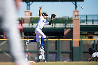 Scottsdale Scorpions second baseman Andres Gimenez (13), of the New York Mets organization, leaps to catch a throw from the catcher during an Arizona Fall League game against the Surprise Saguaros at Scottsdale Stadium on October 26, 2018 in Scottsdale, Arizona. Surprise defeated Scottsdale 3-1. (Zachary Lucy/Four Seam Images)