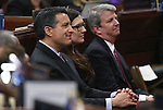 Nevada Gov. Brian Sandoval listens to U.S. Rep. Dina Titus, D-Nevada, address a joint session of the Nevada Legislature in Carson City, Nev., on Thursday, April 4, 2013..Photo by Cathleen Allison