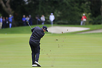 Shane Lowry (IRL) plays his 2nd shot on the 1st hole during Saturday's rain delayed Round 2 of the Andalucia Valderrama Masters 2018 hosted by the Sergio Foundation, held at Real Golf de Valderrama, Sotogrande, San Roque, Spain. 20th October 2018.<br /> Picture: Eoin Clarke | Golffile<br /> <br /> <br /> All photos usage must carry mandatory copyright credit (&copy; Golffile | Eoin Clarke)