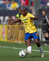 Brazilian midfielder Formiga (8) dribbles. In an international friendly, Canada defeated Brasil, 2-1, at Gillette Stadium on March 24, 2012.