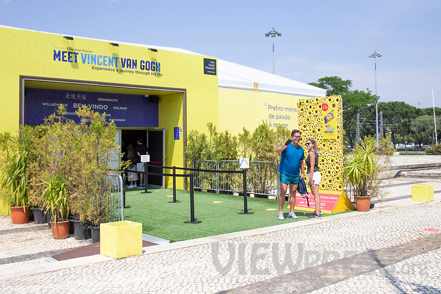 """LISBON, PORTUGAL - MAY 31: People are seen taking a selfie outside of the """"Meet VicentVanGogh"""" exhibition as the spread of the (COVID-19) continues in Lisbon, on May 31, 2020. Meet Vincent van Gogh is an interactive experience, to get to know Lisbon, through which it proposes to make Vincent's art accessible to as many people as possible. (Photo by Luis Boza/VIEWpress via Getty Images)"""