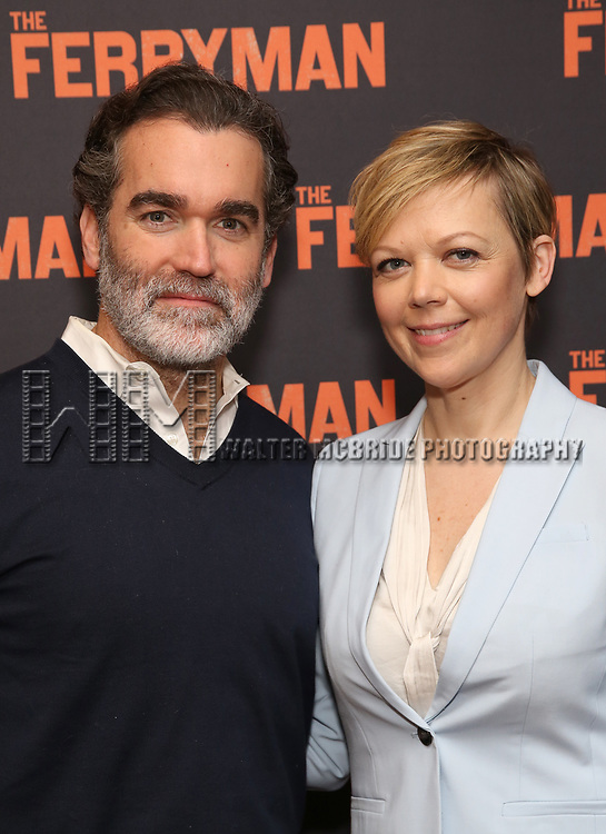 """Brian d'Arcy James and Emily Bergl attends the """"The Ferryman"""" cast change photo call on January 17, 2019 at the Sardi's in New York City."""