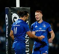 1st November 2019; RDS Arena, Dublin, Leinster, Ireland; Guinness Pro 14 Rugby, Leinster versus Dragons; l11 celebrates scoring a try with team mate - Editorial Use