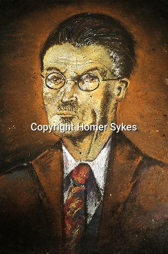"""Pavement portrait of James Joyce  Dublin Ireland Eire. """"Blooms Day"""" June 16th is an annual celebration"""
