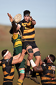 Cole Watson secures lineout ball for Bombay. Counties Manukau Premier Club Rugby game between Bombay and Pukekohe, played at Bombay on Saturday June 30th 2018.<br /> Bombay won the game 24 - 14 after leading 24 - 0 at halftime.<br /> Bombay 24 - Sepuloni Taufa, Tulele Masoe, Chay Mackwood, Liam Daniela tries, Ki Anufe 2 conversions.<br /> Pukekohe Mitre 10 Mega 14 - Joshua Baverstock, Gregor Christie tries; Cody White 2 conversions.<br /> Photo by Richard Spranger.