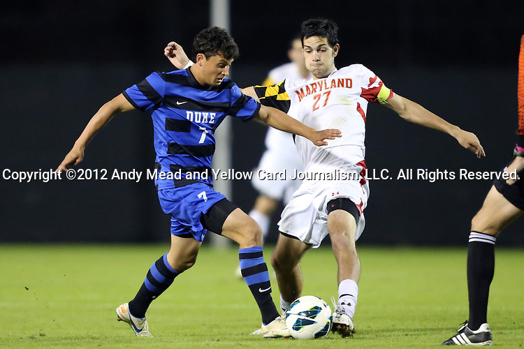 12 October 2012: Duke's Matt Slotnick (7) and Maryland's John Stertzer (27). The University of Maryland Terrapins defeated the Duke University Blue Devils 2-1 at Koskinen Stadium in Durham, North Carolina in a 2012 NCAA Division I Men's Soccer game.