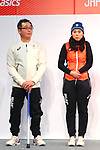 (L-R) <br /> Satoru Sudo, <br /> Yurika Abe, <br /> NOVEMBER 1, 2017 : <br /> A press conference about presentation of Japan national team official sportswear <br /> for the 2018 PyeongChang Winter Olympic and Paralympic Games, in Tokyo, Japan. <br /> (Photo by Naoki Nishimura/AFLO)