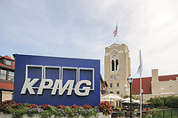 KPMG signage in front of the clock tower during Thursday's round 1 of the 2017 KPMG Women's PGA Championship, at Olympia Fields Country Club, Olympia Fields, Illinois. 6/29/2017.<br /> Picture: Golffile | Ken Murray<br /> <br /> <br /> All photo usage must carry mandatory copyright credit (&copy; Golffile | Ken Murray)
