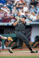 Vanderbilt Commodores outfielder Stephen Scott (19) smashes his second home run of the game against the Mississippi State Bulldogs in the NCAA College World Series on June 19, 2019 at TD Ameritrade Park in Omaha, Nebraska. Vanderbilt defeated Mississippi State 6-3. (Andrew Woolley/Four Seam Images)