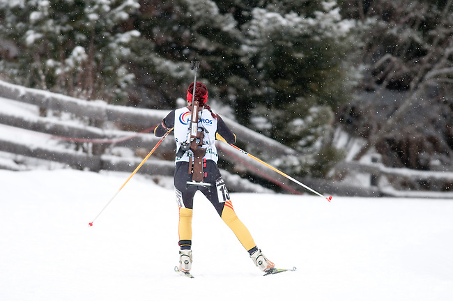 MARTELL-VAL MARTELLO, ITALY - FEBRUARY 02: W?TZEL Nicole (GER) during the Women 7.5 km Sprint at the IBU Cup Biathlon 6 on February 02, 2013 in Martell-Val Martello, Italy. (Photo by Dirk Markgraf)