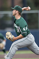 Michigan State Spartans pitcher Jake Lowery (12) delivers a pitch to the plateagainst the Michigan Wolverines on May 19, 2017 at Ray Fisher Stadium in Ann Arbor, Michigan. Michigan defeated Michigan State 11-6. (Andrew Woolley/Four Seam Images)