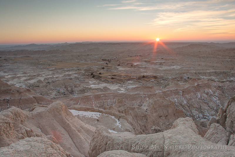 HDR photograph of sunset in the Badlands NP, South Dakota
