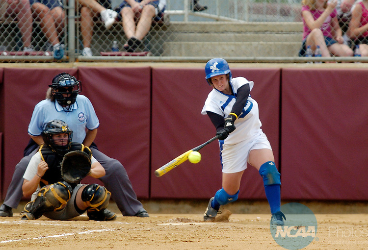 23 MAY 2005:  Tiffani King of Lynn University hits a home run in the sixth inning against Kennesaw State University during the Division II Women's Softball Championship held at the James I. Moyer Sports Complex in Salem, VA.  Lynn won the national title 5-3 over Kennesaw State.  Greg Fiume/NCAA Photos.