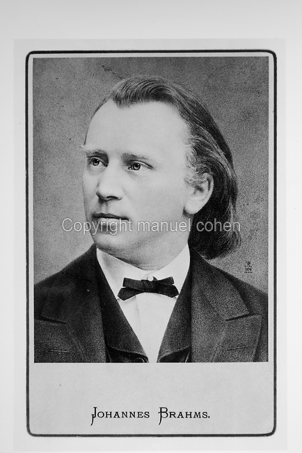 Portrait of Johannes Brahms, 1833-97, German composer and pianist, printed on a card after a drawing by Paul Rohrbach, 1876. Copyright © Collection Particuliere Tropmi / Manuel Cohen
