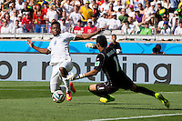 Daniel Sturridge of England lunges towards Keylor Navas of Costa Rica