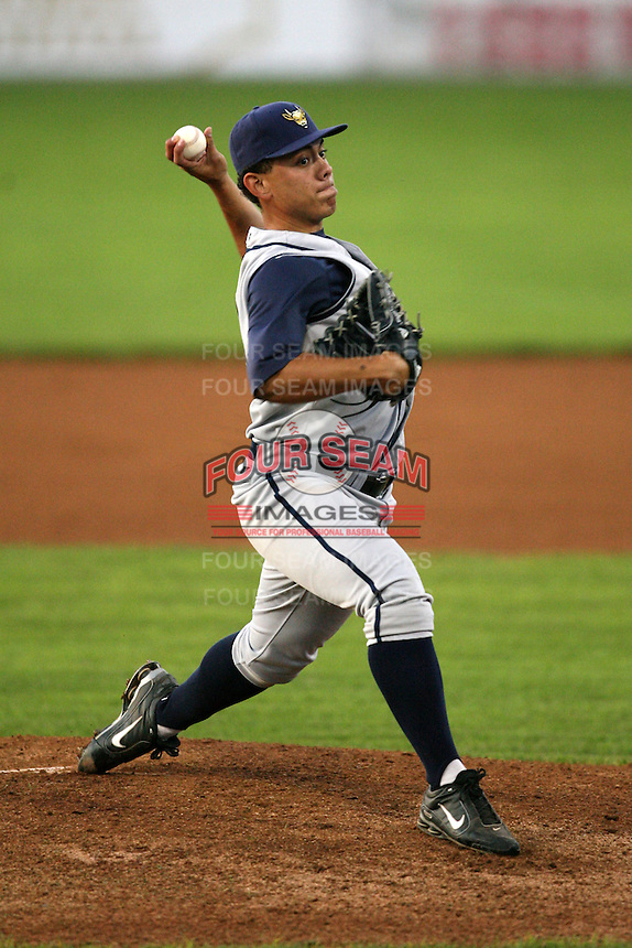 August 31, 2009:  Pitcher Nelson Pereira of the State College Spikes during a game at Frontier Field in Rochester, NY.  State College is the NY-Penn League affiliate of the Pittsburgh Pirates.  Photo By Mike Janes/Four Seam Images