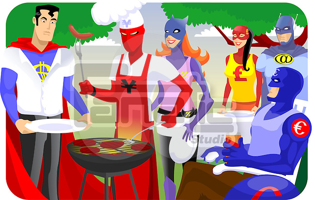 Super heroes in a barbecue party