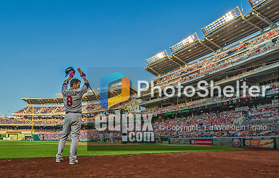 8 June 2013: Minnesota Twins utilityman Jamey Carroll stands on deck during a game against the Washington Nationals at Nationals Park in Washington, DC. The Twins edged out the Nationals 4-3 in 11 innings. Mandatory Credit: Ed Wolfstein Photo *** RAW (NEF) Image File Available ***