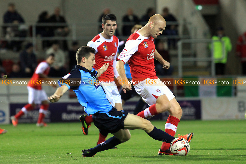 Wycombe's Matt McClure makes a tackle to dispossess Jason Taylor of Rotherham - Rotherham United vs Wycombe Wanderers - NPower League Two Football at The New York Stadium, Rotherham, South Yorkshire - 20/11/12 - MANDATORY CREDIT: Paul Dennis/TGSPHOTO - Self billing applies where appropriate - 0845 094 6026 - contact@tgsphoto.co.uk - NO UNPAID USE.