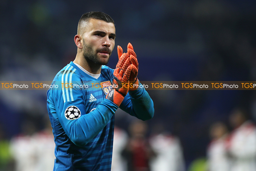 Lyon goalkeeper, Anthony Lopes, applauds the home fans at the end of the match during Lyon vs Manchester City, UEFA Champions League Football at Groupama Stadium on 27th November 2018