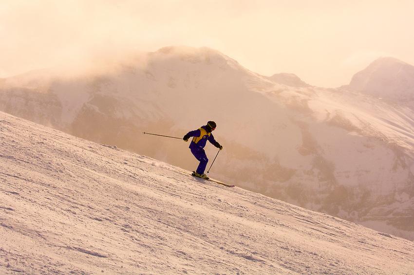 Skiing at Sunshine Village, near Banff, Banff National Park, Alberta, Canada