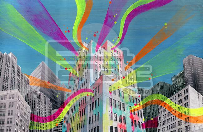 Illustration of building emitting lights representing social networking