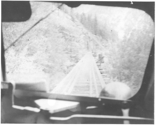 View of RGS High Line trestle bed through the window of a Goose.<br /> RGS  Ophir Loop, CO