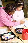 Education Elementary Grade 2 science two female students working together vertical