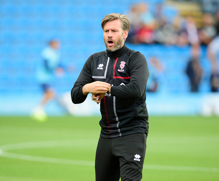 Lincoln City's assistant manager Nicky Cowley during the pre-match warm-up<br /> <br /> Photographer Andrew Vaughan/CameraSport<br /> <br /> The EFL Sky Bet League One - Wycombe Wanderers v Lincoln City - Saturday 7th September 2019 - Adams Park - Wycombe<br /> <br /> World Copyright © 2019 CameraSport. All rights reserved. 43 Linden Ave. Countesthorpe. Leicester. England. LE8 5PG - Tel: +44 (0) 116 277 4147 - admin@camerasport.com - www.camerasport.com