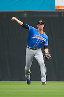 Akron RubberDucks center fielder Bradley Zimmer (6) throws the ball in during the first game of a doubleheader against the Bowie Baysox on June 5, 2016 at Prince George's Stadium in Bowie, Maryland.  Bowie defeated Akron 6-0.  (Mike Janes/Four Seam Images)