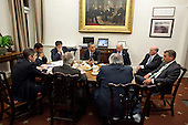 "April 6, 2011.""The President and Vice President convene a late night meeting to discuss the budget with with House Speaker John Boehner, right, and Senate Majority Leader Harry Reid, second from left in foreground, in the Oval Office private dining room. Pictured clockwise from the Vice President are: Chief of Staff Bill Daley; Speaker Boehner; Barry Jackson, Chief of Staff to Speaker Boehner; Sen. Reid; David Krone, Majority Leader Reid's Chief of Staff; Rob Nabors, Assistant to the President for Legislative Affairs, and Jack Lew, Office of Management and Budget Director."".Mandatory Credit: Pete Souza - White House via CNP"