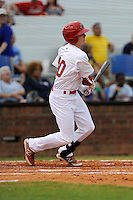 Right fielder Blake Drake (40) of the Johnson City Cardinals bats in a game against the Elizabethton Twins on Sunday, July 27, 2014, at Howard Johnson Field at Cardinal Park in Johnson City, Tennessee. The game was suspended due to weather in the fifth inning. (Tom Priddy/Four Seam Images)