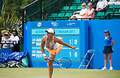 June 14th 2017, Nottingham,  England; WTA Aegon Nottingham Open Tennis Tournament day 5;  Ashleigh Barty of Australia serving on centre court