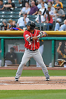 Rafael Ynoa (5) of the Albuquerque Isotopes at bat against the Salt Lake Bees in Pacific Coast League action at Smith's Ballpark on August 30, 2016 in Salt Lake City, Utah. The Bees defeated the Isotopes 3-2. (Stephen Smith/Four Seam Images)
