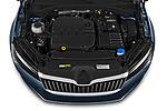 Car stock 2020 Skoda Superb Ambition 5 Door Hatchback engine high angle detail view