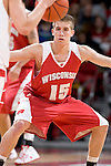 MADISON, WI - OCTOBER 24: Guard Brett Valentyn #15 of the Wisconsin Badgers plays defense during the red/white scrimmage at the Kohl Center on October 24, 2006 in Madison, Wisconsin. The White team defeated the Red team 72-69. (Photo by David Stluka)