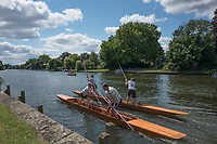 Maidenhead, United Kingdom.  &quot;Mixed Doubles&quot;, in the first few meters of the start. &quot;Thames Punting Club Regatta&quot;, Bray Reach.<br />  Sunday  06/08/2017<br /> <br /> [Mandatory Credit. Peter SPURRIER Intersport Images}.<br /> <br /> LEICA Q (Typ 116) 28mm  f1.7   1/5000 /sec    100 ISO River Thames, .......... Summer, Sport, Sunny, Bright, Blue Skies, Skilful,