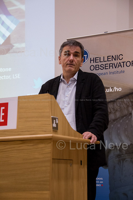 Euclid Tsakalotos.<br /> <br /> London, 10/11/2015. Today, the LSE (London School of Economics and Political Studies) presented a public lecture - part of the LSE Hellenic Observatory public lecture - called &quot;Economic Blues: The Left in Government Times&quot; hosted by Euclid Tsakalotos (Greek Minister of Finance; Syriza Politician; left-wing Greek economist; he has been the Minister of Finance in the Second Cabinet of Alexis Tsipras since 23 September 2015; he previously served as the Minister of Finance in the First Cabinet of Alexis Tsipras from 6 July 2015, following Yanis Varoufakis's resignation, to the 28 August 2015, when a caretaker cabinet was appointed before the September 2015 legislative election; he studied economics at the universities of Oxford and Sussex; he was Professor at the University of Kent, the Athens University of Economics and Business and is currently a professor of economics at the University of Athens). Chair of the event was Professor Kevin Featherstone (Director of the LSE Hellenic Observatory Director). From the event online page: &lt;&lt; What are the prospects of the Left in government after the summer agreement? Can that agreement be incorporated into a political strategy that furthers social justice and a different economic model? Can Greece act as catalyst for wider progressive changes in the Eurozone and the EU?&gt;&gt;.<br /> <br /> Here there is the link to podcast and video of the lecture: http://bit.ly/1HCiq2D