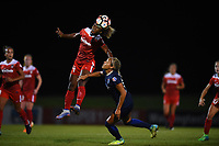 Boyds, MD - Wednesday August 30, 2017: Francisca Ordega, Jaelene Hinkle during a regular season National Women's Soccer League (NWSL) match between the Washington Spirit and the North Carolina Courage at Maureen Hendricks Field, Maryland SoccerPlex.